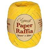 Eleganza 8 mm x 30 m de Ruban en Raphia Papier pour de Nombreux projets manuels et Emballage Cadeau n, Jaune
