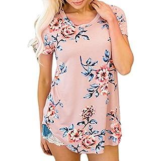 Zarupeng Kurzärm Druckt T-Shirt für Damen, Mode Frauen Kurzarm Blumen Bluse Hemd Tops Kleidung T-Shirt Rundhals Jumper Oberteile (XL, A)