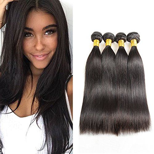 Huarisi Human Hair Straight Brazilian Virgin Hair 4 Bundles Weaves 16 18 20 22 Inches 9a Unprocessed Natural Hair Extensions Close to 1b (1-dollar-shorts)