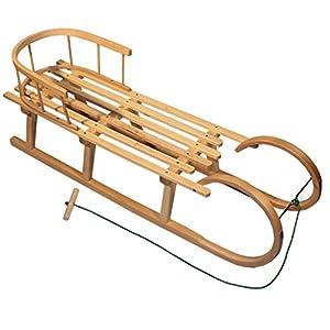 BambiniWelt Hörnerschlitten mit Rückenlehne & Zugleine, 100cm, Schlitten Holzschlitten Kinderschlitten Hörnerrodel