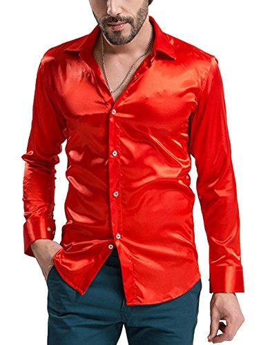 Kostüme Produktion Tanz (DD.UP Herren Seide Freizeit Hemd Slim Fit Baumwolle Solid Color Tanz Abschlussball-Kleid Langarm)