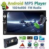 XZZTX 7 Pollici Android 8.1 Double DIN GPS Navigazione Autoradio MP5 Player Touchscreen Capacitivo Digitale con Supporto Fotocamera Posteriore Bluetooth WiFi Specchio Link USB Radio FM SWC