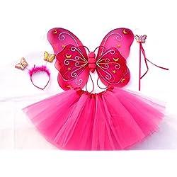 """Costume bambina """"Farfalla"""" - Tante Tina – Set di 4 pezzi – Con ali da fata o farfalla – Rosa vivo con cerchietto"""