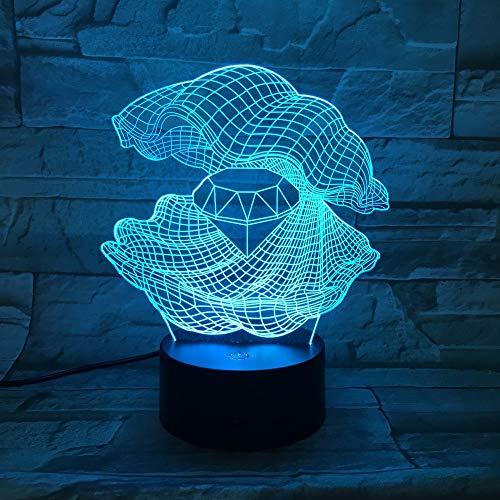 Perlmutt 3D Nachtlicht Led 7 Farben Ändern Shell Schreibtisch Tischlampe Einrichtung Diamant Form Lampe Als Wohnkultur Geschenk