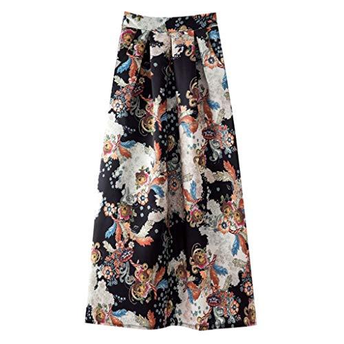 iYmitz Mode Damen A-Line Frühling und Sommer Rock Drucken Lässig Rock Retro Big Rock Blumen Party Kleider Elegant ()
