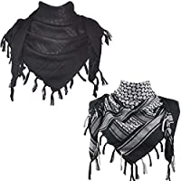 Explore Land Cotton Shemagh Tactical Desert Scarf Wrap (Black, Black and White)