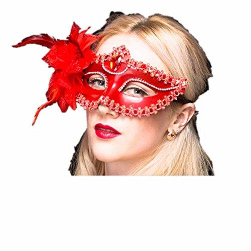 Maskerade,Maske Mädchen Kind Prinzessin Party Requisitengesicht Make-up Tanz Maske halbes Gesicht Lilienrot Masquerade