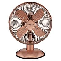 YourHome Copper-Effect Metal Table Fan, 3 Speed Settings, Adjustable, Oscillating, Four Blade Design for Home & Office