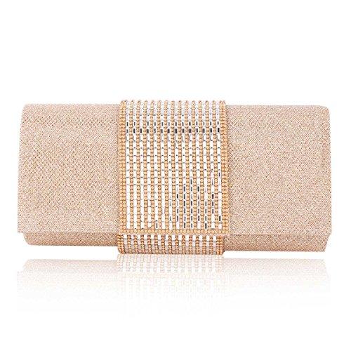 Damara® Damen Medium Pailletten Handtasche Mit Strass Dekoration Champagner
