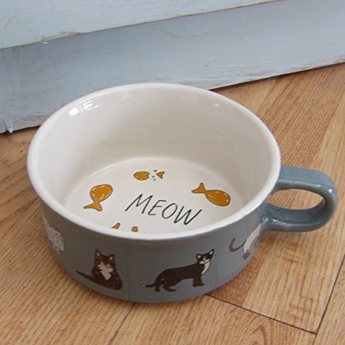 Ceramic Grey Cat Meow Bowl With Handle