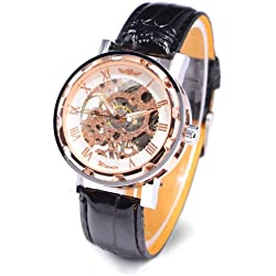 Luxury Rose Gold Leather Stainless Analogue Skeleton Menchanical Sport Wristwatch