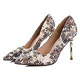 MDRW-Lady/Elegant/Arbeit/Freizeit/Feder Stilvolle Stempel 9 Cm High-Heeled Schuhe das Mädchen fein mit der Spitze des Butt-Color einzelne Schuhe Frühling und Herbst sexy Diskotheken Frauen Schuhe 34