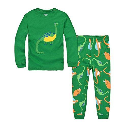 Bebone Pijama Cartoon Dinosaurio 2 piezas Conjuntos Camiseta Manga Larga y Pantalones Largas para Niños (Verde,4años)