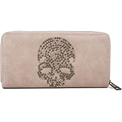 styleBREAKER monedero con aplicación de calavera de remaches, cremallera circular, cartera, señora 02040083, color:Rosa