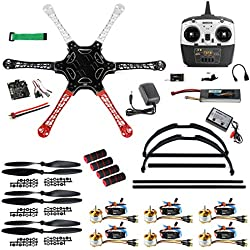 QWinOut F550 Airframe RC Hexacopter Drone Kit DIY PNF Unassembly Combo Set with Kkmulticopter Flight Controller for Beginners (with Battery and Remote Controller)