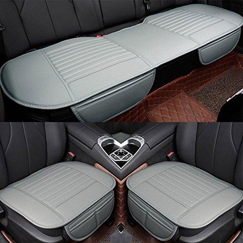 Sedeta Beste Innen PU lederner Autositz Kissen Auflage Schutzmattenabdeckung für Limousine SUV LKW Fahrer 3pcs FÖRDERUNG Auto (Hinten Auto Sitz Pad)