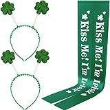 2 Ensembles Accessoire de Costume de Saint-Patrick Comprenant 2 Pièces Boppers de Tête de Shamrock et 2 Pièces Sash Vert