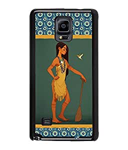 Fuson Nice Girl Back Case Cover for SAMSUNG GALAXY NOTE 4 - D3652