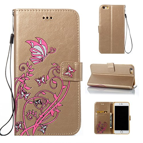 JIALUN-Telefon Fall Druck Farbe Schmetterling Blumen mit Lanyard Card Slot, Eingebaute Halterung Flat Phone Cover für IPhone 6 Plus & 6s Plus ( Color : Pink ) Gold