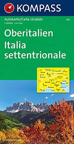 Oberitalien, Italia settentrionale, Northern Italy, Italie du Nord: Autokarte 1:500000 (KOMPASS-Autokarten, Band 324)
