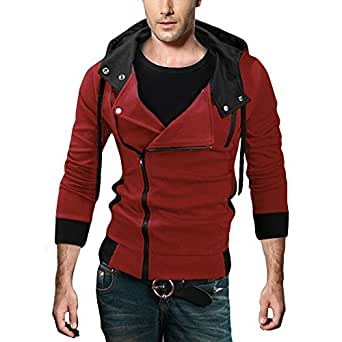 DJT Men's Boys Hot Premium Slim Hooded Sweatshirt Jumper Casual Cardigan Tops Pullover Jacket Coat Red Small