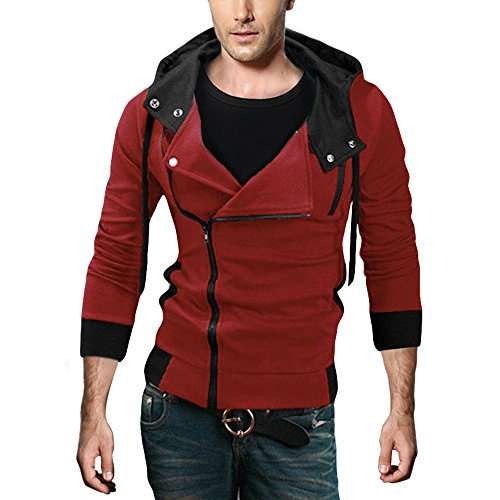 DJT Herren Slim Fit Hoodie Kapuzenpullover Sweatshirt Jacke Pullover Schraegzip Cosplay Kostuem Rot (College Design Kostüm)