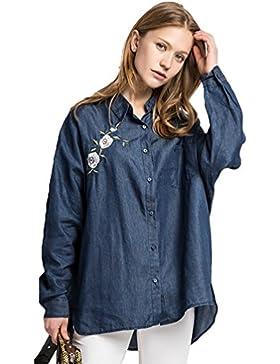 YAANCUN Mujer 2017 Verano Flores Bordado Camisa Manga Larga Suelto Top Blusa Camiseta