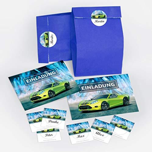 12 Einladungskarten Geburtstag Kinder Junge Rennauto incl. 12 Umschläge, 12 Tüten/blau, 12 Aufkleber / Rennwagen / Auto / Einladungen Kindergeburtstag für Jungen / Kartenset