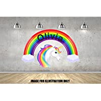 Rainbow Unicorn FairytalePersonalised Named Childrens Wall Stickers Boys Girls Wall Art Transfer Decal