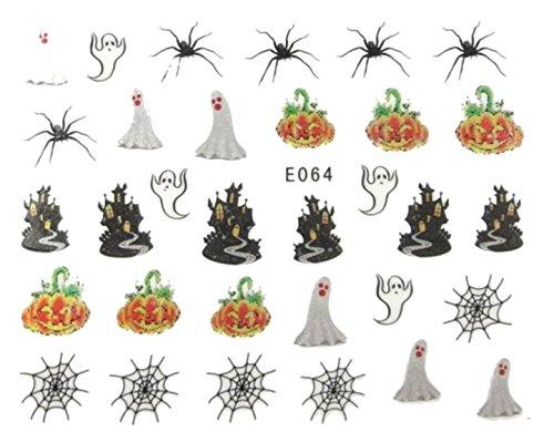 Générique Nail Art Autocollants Stickers Ongles: Décorations Halloween citrouilles fantômes Toiles d'araignée