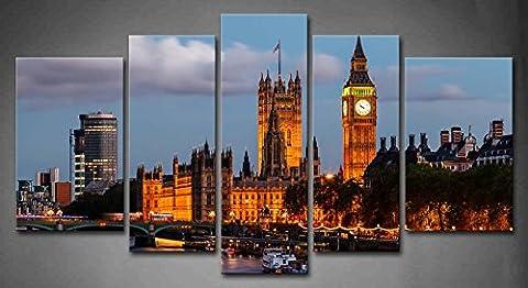 5panneaux Art mural Big Ben et Westminster Bridge Soirée Londres
