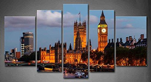 5Panel Wand-Art Big Ben und Westminster Bridge Abend London United Kingdom Boot...