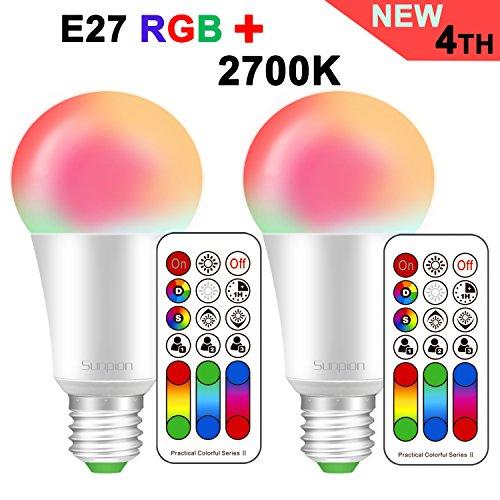 Sunpion (2 pack) 10w e27 rgb+3000k lampada bulbo a led rgbw cambia colore led lampadina bulbo,celebration per natale,per decorazione con ir telecomando