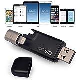 DM Anschluss für iPad, iPod iPhone USB Flash Drive mit Lightning Adapter Daumen-Stick-Speicher Externe [Apple-MFI] schwarz 32GB
