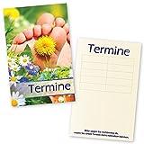 500 Fußpflege – Terminkarten SOMMERWIESE mit 5 Terminfeldern und Stempelfläche auf der Rückseite