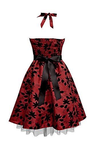 Black Butterfly Robe Rockabilly Satin Essence 'Maisy' Bordeaux