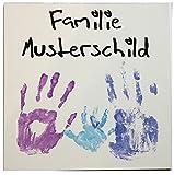 HC-Lasergravur Hausschild mit Namen Hausnummer 20 x 20 cm für Familien, Motiv Hände/Robustes Schildermaterial/Hausschilder als Geschenk zum Einzug