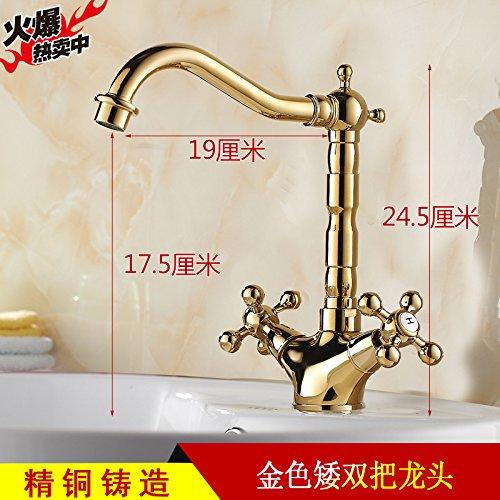 Antiken Wasserhahn, europäischen Stil heißen und kalten Wasserhahn, schwarz plus hohe Plattform, Topfkopf, goldene Farbe, Gold Doppelkopf Wasserhahn (Double Headed Nickel)