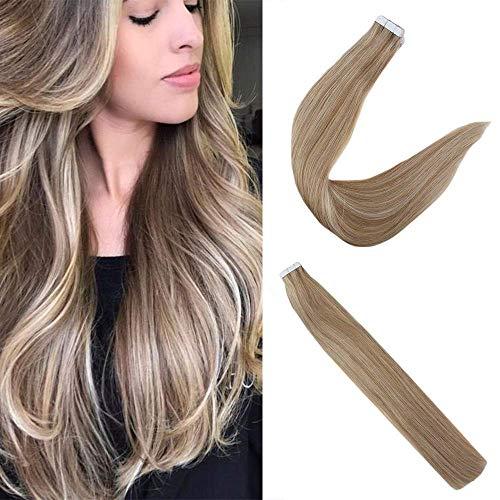 Easyouth Balayage Remy Human Tape Haarverlängerung für Frauen 14 Zoll Farbe Golden Brwon Verblassen zu Farbe Gloden Blonde Mix Farbe Platinum Blonde 50g pro Packung Kleber auf Haar -