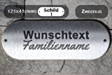 Edelstahl Türschild Briefkastenschild Namensschild mit Lasergravur Gravur Montage mit Schrauben Bohrlöcher rechts und links für Innen- und Außenbereich geeignet, Wunschtext, Familienname oder Hausnummer; 2 Zeilen (125x45 Zweizeilig)