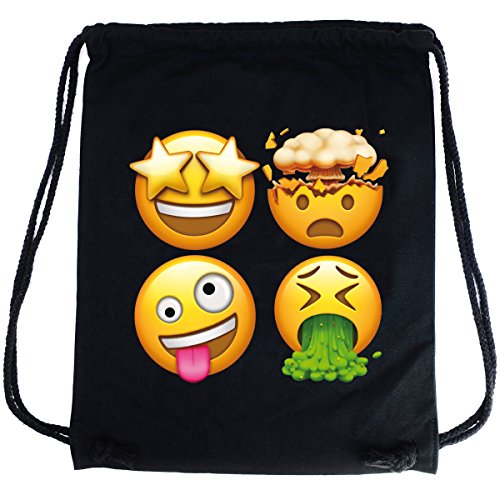 emoji sportbeutel PREMYO Turnbeutel Emoji Kotz Smiley Sternen Gesicht Explosion. Hochwertiger Hipster Sportbeutel in Schwarz aus Baumwolle mit Aufdruck in Farbe. Festival-Rucksack GymBag witzig ideal für unterwegs