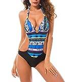 Tuopuda Mujer Traje de Baño una Pieza Sexy Monokini Bikini Push Up Bañador Entero Impreso Bohemia para Playa (EU 36, Azul)