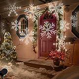 LED Projektionslampe Weihnachten Innen Schneeflocken Muster Weiß, LED Projektor Lampe Kinder Strahler Weihnachtsbeleuchtung Außen Hauswand Garten Beleuchtung IP44