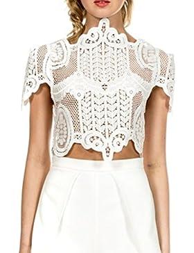 Simplee Apparel La mujer de manga corta de encaje floral blusa malla crochet crop top Shirt Clubwear