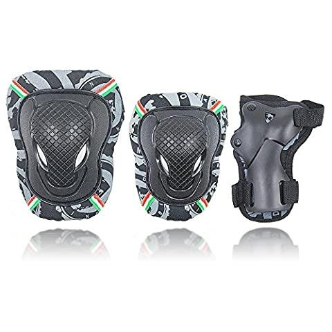 Erwachsenen-Knieschoner, Knieschützer und Ellbogenschützer Youth/Pad Set für Inline Roller Skating Biking Sport Safe Guard, (Roller Knieschützer)