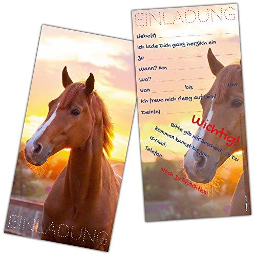 XL-Set Pferd Einladungen (24 Stück) - liebevoll gestaltete Einladungskarten zum Geburtstag für Mädchen Jungen Kindergeburtstag Party von BREITENWERK® -