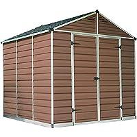 Al aire libre Metal Garden Shack Hut Hut Herramienta de jardinería Almacenamiento y Fundación y Ventilación,Amber-8 * 8