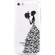 JIAXIUFEN Funda de Silicona Suave Case Cover Protección cáscara Soft Gel TPU Carcasa Funda para iPhone 5C - Henna Series Black Apple Butterfly Girl
