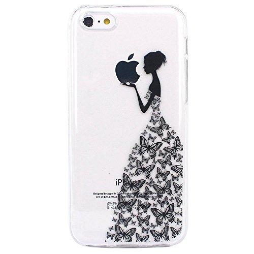JIAXIUFEN Neue Modelle TPU Silikon Schutz Handy Hülle Case Tasche Etui Bumper für Apple iPhone 5C - Henna Series Black Apple Butterfly Girl