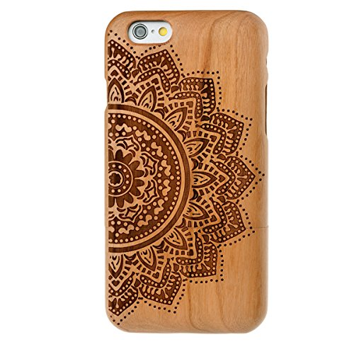 GrandEver Hand Natürliche Bambusholz Fest Schutzhülle Hard Case für iPhone 6 6S Plus (5.5') Case Cover Shell Telefon Schutzhülle Etui Handy Tasche Hülle für iPhone 6 6S Plus (5.5') (Löwenzahn) Retro Blume